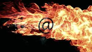 Fire ball moving across screen with at email symbol