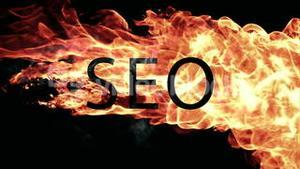 Fireball moving across screen with seo text
