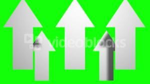 Arrows moving up on green background