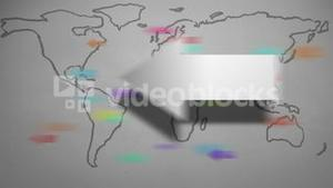 Arrows pointing across world map