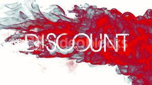 Red ink swirling in water with discount message
