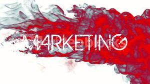 Red ink swirling in water with marketing text
