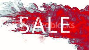 Red ink swirling in water with sale text