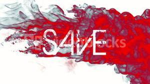 Red ink swirling in water with save text