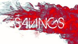 Red ink swirling in water with savings text