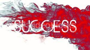 Red ink swirling in water with success text