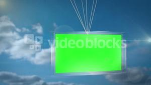 Balloons carrying green screen display