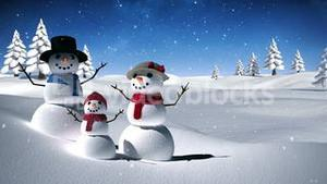 Snow family in a calm snowy landscape