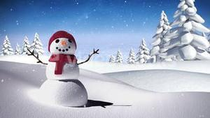 Snowman in a calm snowy landscape