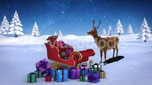 Rudolph with santa sled full of gifts in snowy landscape