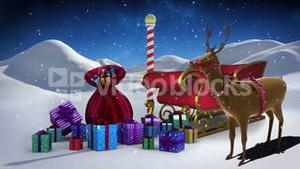 Santa sled full of gifts in snowy landscape at north pole with rudolph