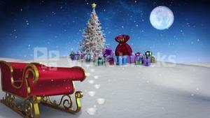 Many christmas gifts under fir tree with sled
