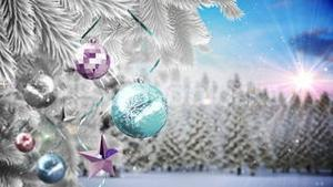 Seamless christmas scene with copy space