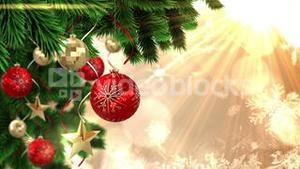 Seamless christmas scene with decorations