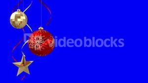 Seamless christmas decorations hanging on blue