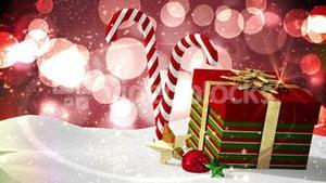 Seamless christmas scene with decorations and gift