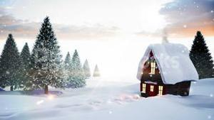 Seamless christmas scene with cottage and lights
