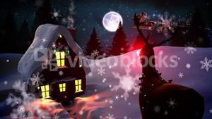 Seamless christmas scene with cottage and rudolph