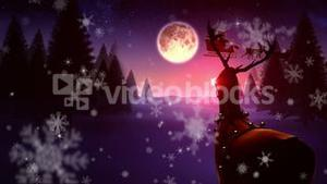 Seamless christmas scene with rudolph
