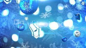 Seamless christmas decorations falling in blue and silver