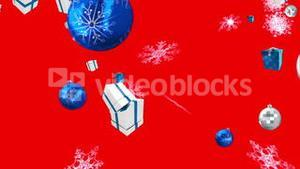 Seamless christmas decorations falling in blue and silver on red