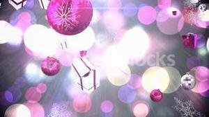 Seamless christmas decorations falling in pink and silver