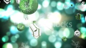 Seamless christmas decorations falling in green and silver