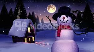 Seamless christmas scene with waving snowman