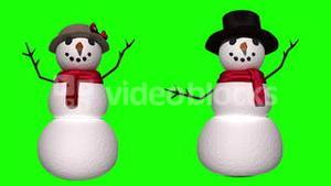 Seamless snowman and woman waving on green screen