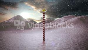 Snow falling on snowy landscape with north pole