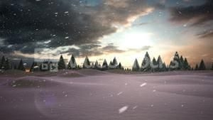 Snow falling on snowy windy landscape with forest