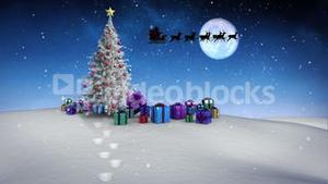 Santa and his sleigh flying over snowy landscape with tree and gifts loopable