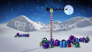 Santa and his sleigh flying over snowy landscape with pole and gifts loopable