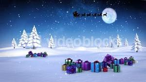 Santa and his sleigh flying over snowy landscape with gifts loopable