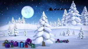 Santa and his sleigh flying over snowy forest loopable