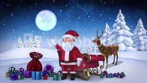Santa waving at camera with reindeer and sleigh in snowy forest loopable