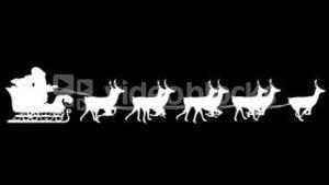 Santa and his sleigh flying against black background loopable