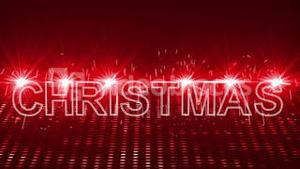 Red laser show with christmas text and clip