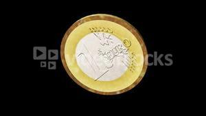 Seamless 3d Animation of a Euro Coin