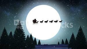 Santa and his sleigh flying over snowy forest