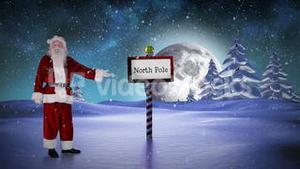 Santa standing at the north pole