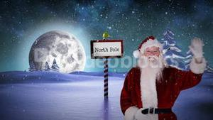 Santa waving at the north pole
