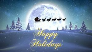 Happy holidays message with flying santa