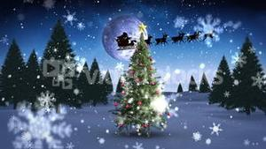 Santa and his sleigh flying over snowy christmas tree looping