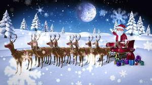 Cartoon santa waving at camera with sled and reindeer