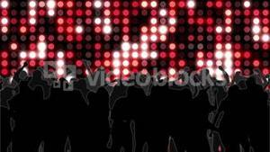 Nightclub with red mosaic wall of light and dancing crowd