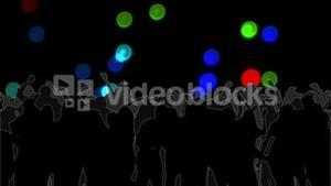 Dancing crowd with glowing circles of light moving on black