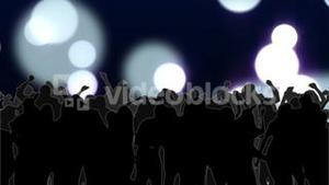 Nightclub with glowing circles of light moving in purple hues