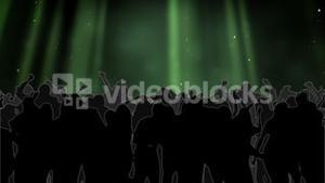 Nightclub with green laser show and dancing crowd
