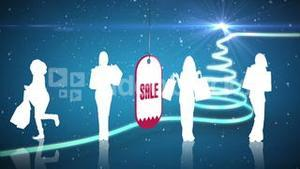 Sale advertisement with shooting star forming christmas tree